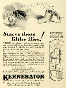 A 1929 ad for a Kernerator, via Amazon.com. The Kernerator was a trash incinerator connected to a structure's chimney.