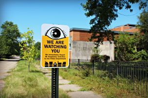 Increased neighborhood surveillance keeps crime down. Hubert Elementary in background.