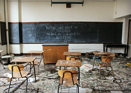 An abandoned school in Detroit, photo by the author