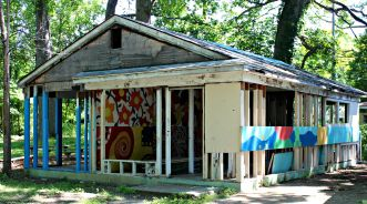 A blighted home turned into an art exhibit/play space for local children