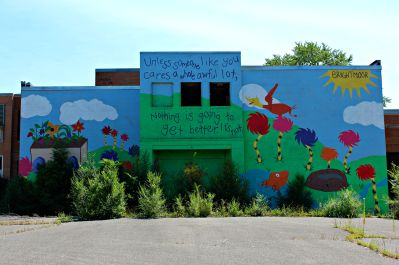 "A mural at Hubert Elementary, closed since 2005. ""Unless someone like you cares a whole awful lot, nothing is going to get better. It's not."""